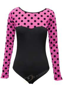 WOMENS LADIES LONG SLEEVE POLKA DOT FLOCK MESH BODYSUIT LEOTARD TOP 6