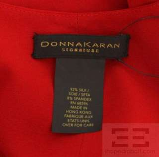 Donna Karan Signature Red Silk Gathered Halter Dress