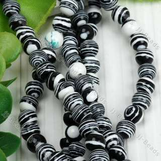 15.5L Black White Turquoise Round Loose @Bead 6mm