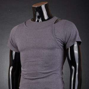SWM Mens Designer Short T Shirts Top Layered Dark Gray