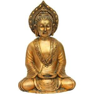 Seated Buddha in Dhyana Mudra   Brass Sculpture Home