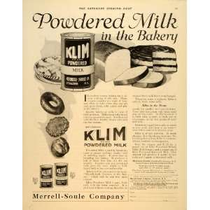 1919 Ad Klim Powdered Milk Merrell Soule Syracuse Bake