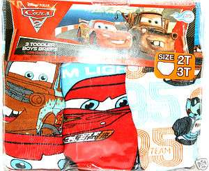 Disney Pixar Cars 2 TODDLER BOYS BRIEFS UNDERWEAR SIZE 2T 3T NEW IN