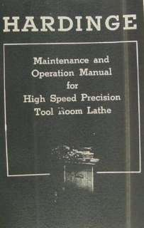 TL High Speed Tool Room Lathe Maintenance & Operation Manual