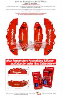 Brembo Style Brake Caliper Covers FRONT+REAR RED 4PC