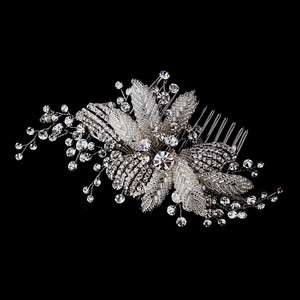 Antique Silver Crystal Flower Bridal Hair Comb