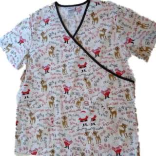 Womens Rudolph & Santa Claus Christmas Nurse Smock Medical Scrubs Top