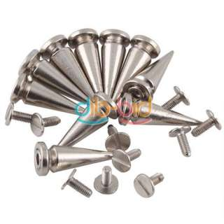 10PCS 25mm Metal Cone Screwback Spikes Stud Punk Bracelet Leather Bag