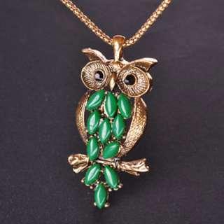 New Fashion Design Retro Style Personality Cute Green owl Pendant