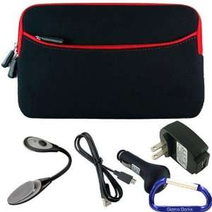 Gizmo Dorks Soft Neoprene Zipper Case (Black with Red Trim), LED Light