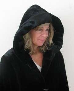 BLACK FAUX FUR SHEARED MINK BEAVER HOODED LADIES JACKET DUFFLE COAT~S
