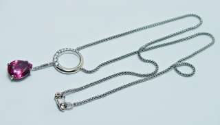 18K/14K White Gold 4ct Pink Tourmaline Diamond Necklace