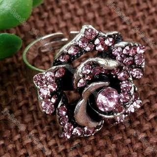 1P Crystal Rhinestone Rose Adjustable Cocktail Ring SZ6
