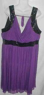 LANE BRYANT 28 PURPLE & BLACK PARTY DRESS 3X SEQUINS