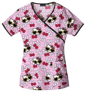 Tooniforms Hello Kitty Womens Mock Wrap Print Top 6726C HKGL
