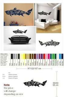 OF FISH COLLAGE WALL ART DECAL STICKER giant tattoo picture print Fi9