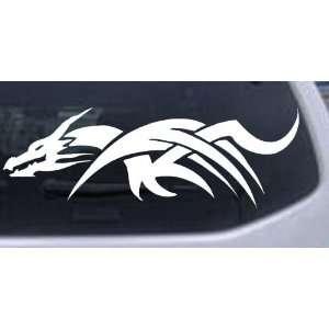 Tribal Dragon Car Window Wall Laptop Decal Sticker    White 40in X 14