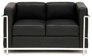 modern lc2 cube sofa set   black italian leather