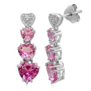 Silver and Shaded Created Pink Sapphire Diamond Earrings Jewelry