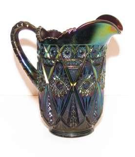 Diamond Lace Carnival Glass Water Pitcher Purple Amethyst pre 1940