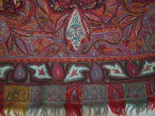 Exquisite Antique Victorian Kashmir Hand Woven Embroidered Pieced