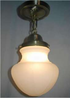 VTG 30S ANTIQUE ART DECO PENDANT SATIN GLASS shade LIGHT FIXTURE