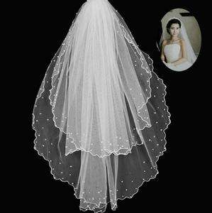 2T Layer 100cm Cathedral In White Ivory Bead Wedding Bridal Veil BV04
