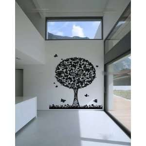Abstract Butterfly Tree and Grass Vinyl Wall Decal Sticker 8 Feet Tall