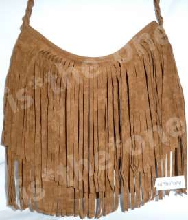 New Celebrity Fringe Faux Suede Leather Tassel Shoulder Cross body Bag