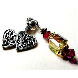 Pendant Friend Message Twin Hearts Ruby & Yellow Gold Crystal Cube