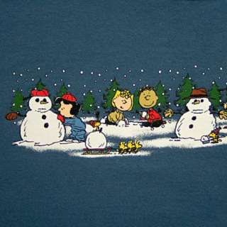Snoopy Lucy Winter Snowman Scene Christmas T Shirt Adult M