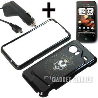 Skull Cover Case + Car Charger for Droid Incredible HTC