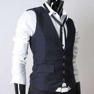 VE29) THELEES Mens premium 4 button slim vest waist coat