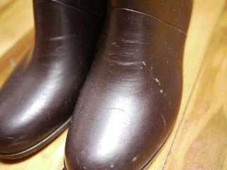 Vintage 70s Chocolate Brown Granny RUBBER Rain Snow BOOTS Womens 7 38