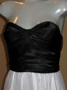 Black Bodice White Beaded Full Tulle Skirt Long Prom Gown 5