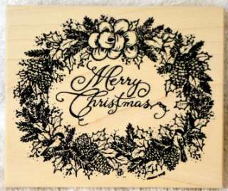 Northwoods Rubber Stamp Christmas Merry Wreath Holly