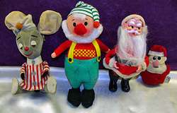 Vintage Christmas Dolls 2 Santas Elf Mouse 1960s 70s Kitschy Cute