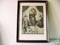 ANTIQUE LARGE SISTINE MADONNA STEEL ENGRAVING / RAPHAEL