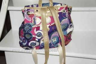 New Coach Poppy Pop C Multicolor Flap Backpack Handbag 18341 plus Dust