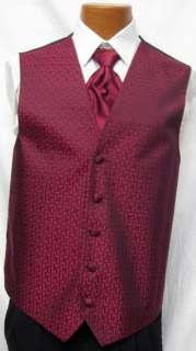 After Six Claret Red Melrose Fullback Vest & Tie Prom