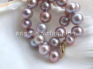 AA 10 11mm purple freshwater pearl necklace 14K/20 clas