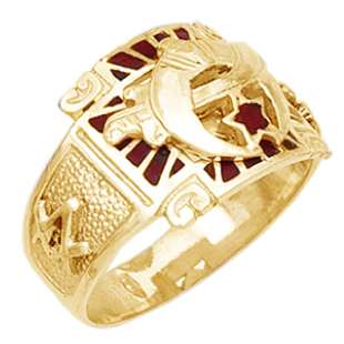 Mens Silver Gold Masonic Freemason Shrine Shriner Ring