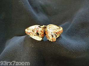 BRACELET/CUFF Cobra/Snake gold metal & faux BROWN crystals RHINESTONES