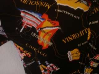 MENS BLACK ROUTE 66 USA CITIES/STATES MAP RETRO LOUNGE BOWLING SHIRT M