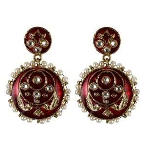 Red Enameled Earrings with Stones and Pearls   SHJ
