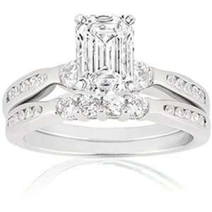 2 Ct Emerald Cut Diamond Engagement Wedding Rings Set CUT