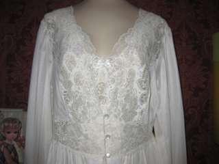 Vtg Shadowline Nightgown Robe Set SPANDEX Nylon Sweeping Gown Peignoir