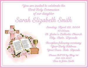 1st Holy First Communion PINK OR BLUE Custom Invitations Personalized
