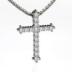 Small Brilliant Cross, 14K White Gold Necklace with
