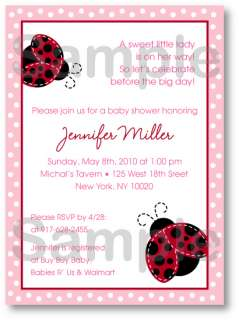 Red Ladybug Dot Baby Shower Invitation Print Your Own